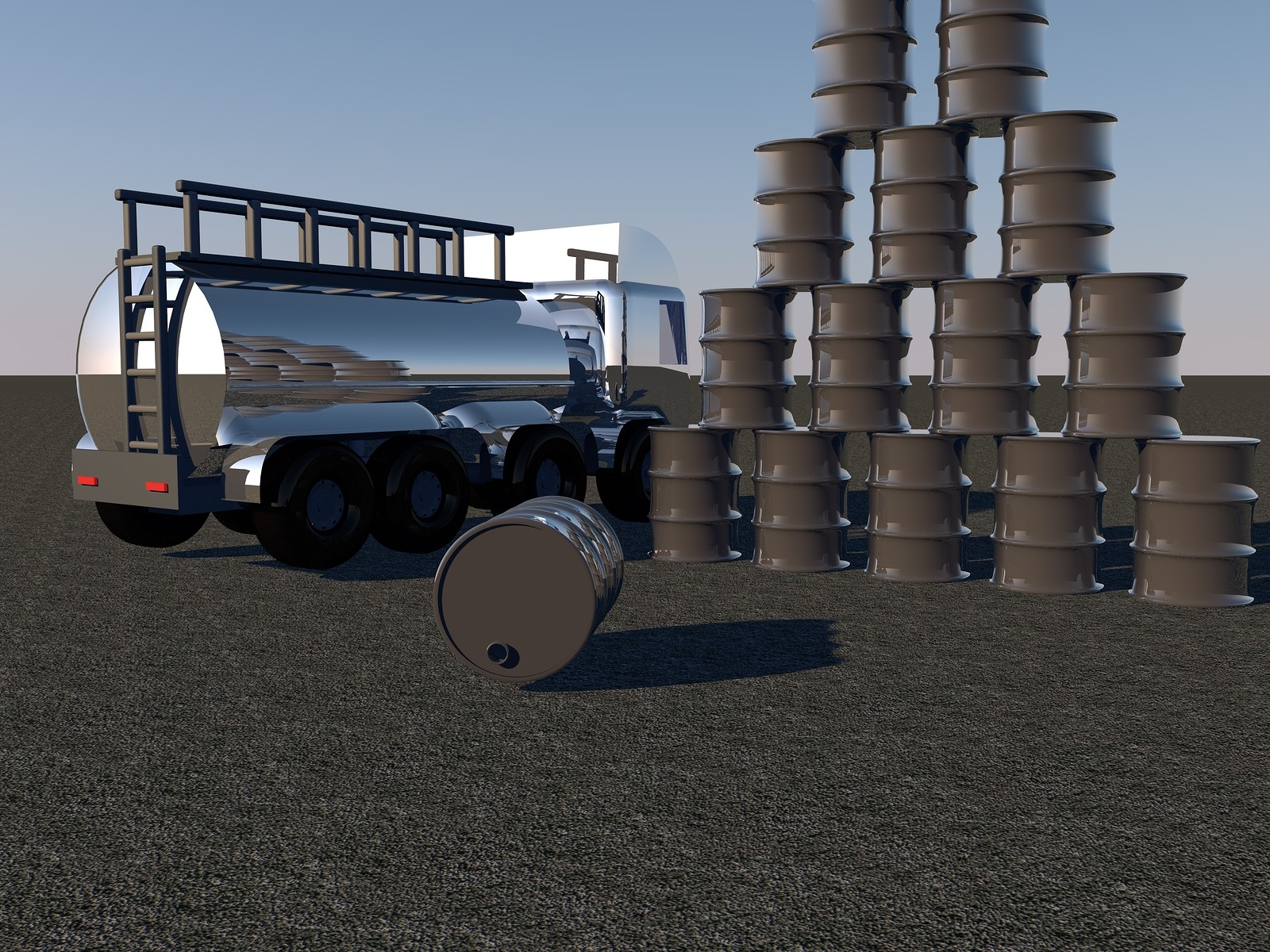 oil barrels and tanker