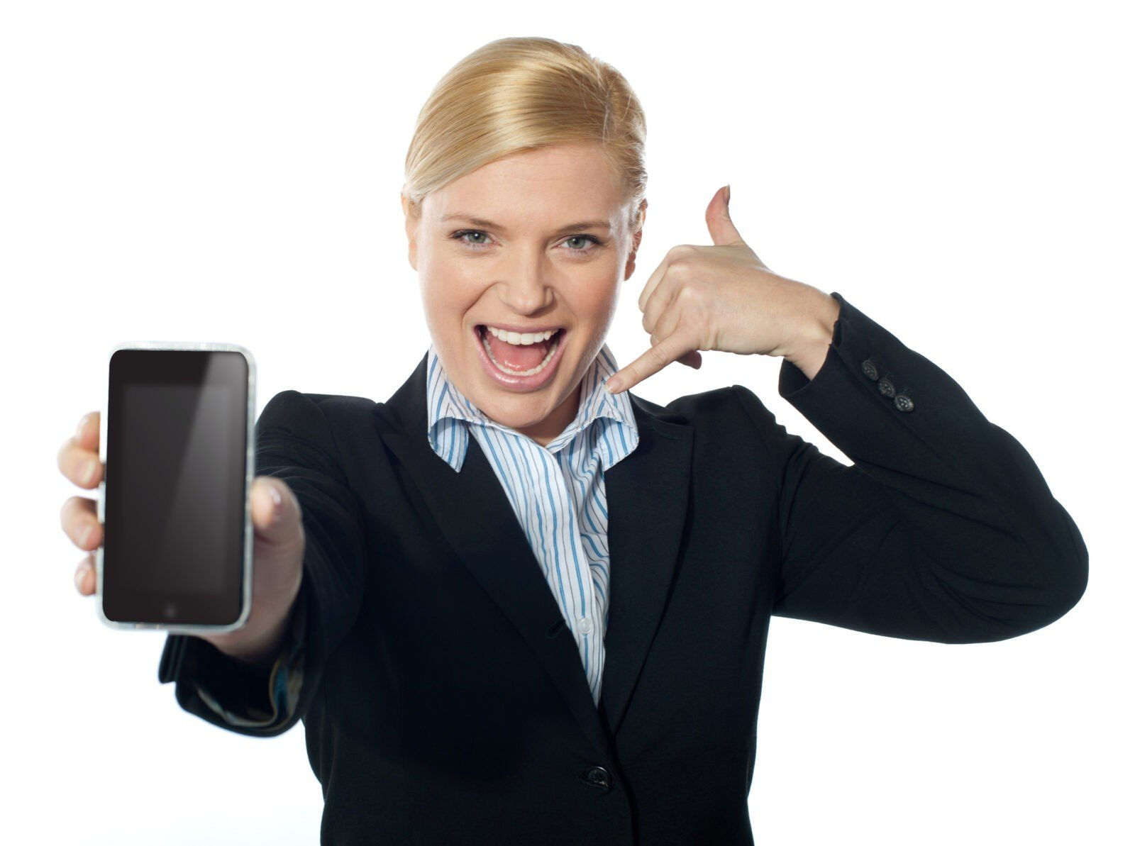 saleswoman showing off iphone