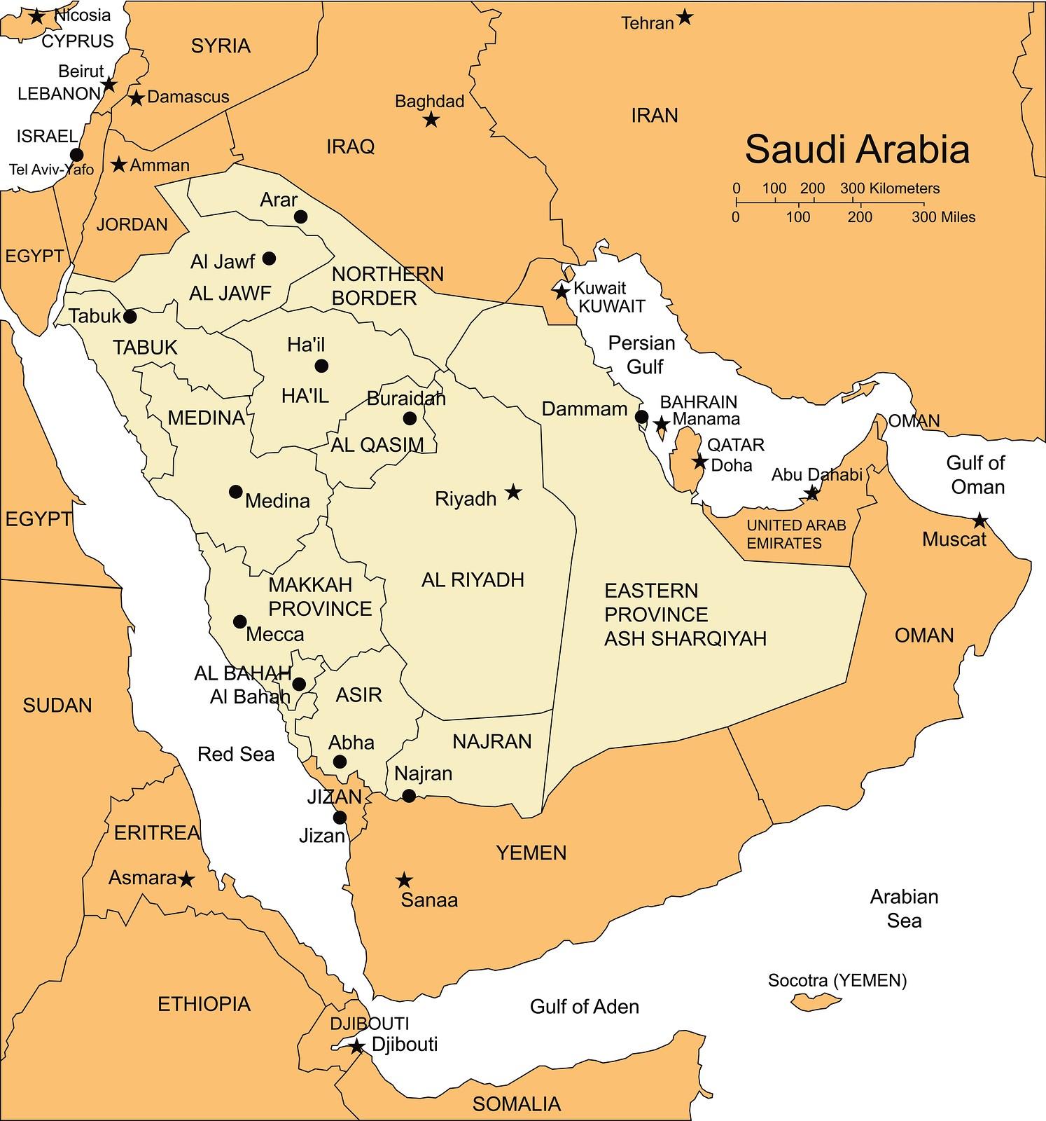 Saudi Arabia Map With Major Cities Saudi Arabia Map