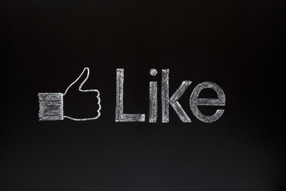 facebook like thumbs up on chalkboard