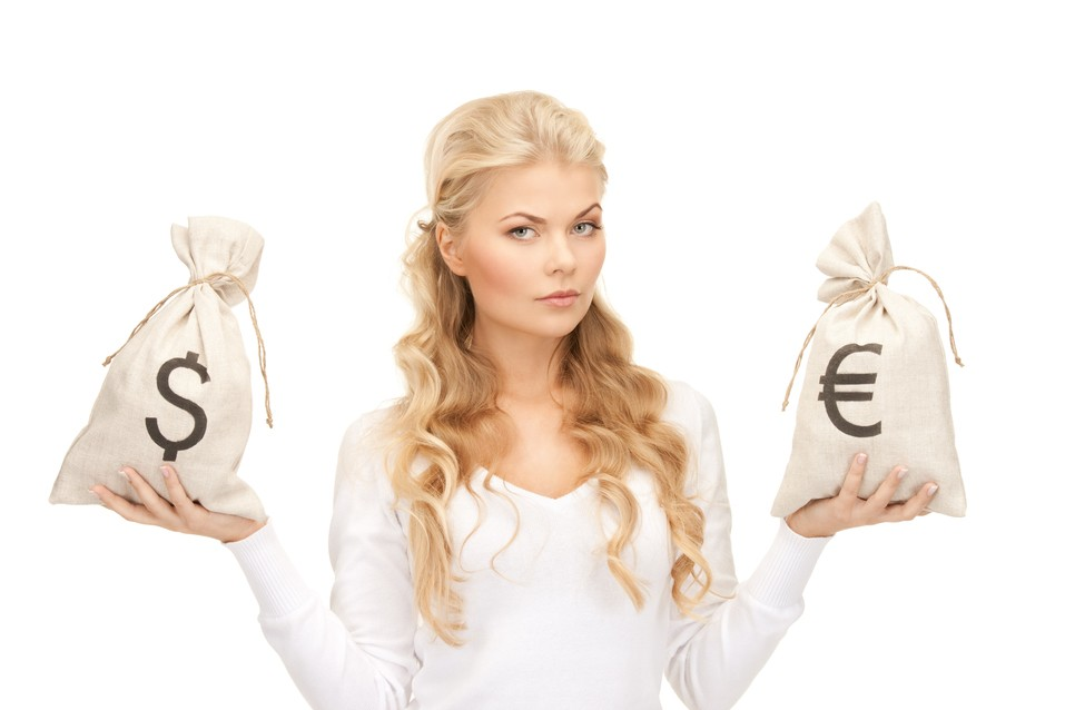 woman with euros and dollars