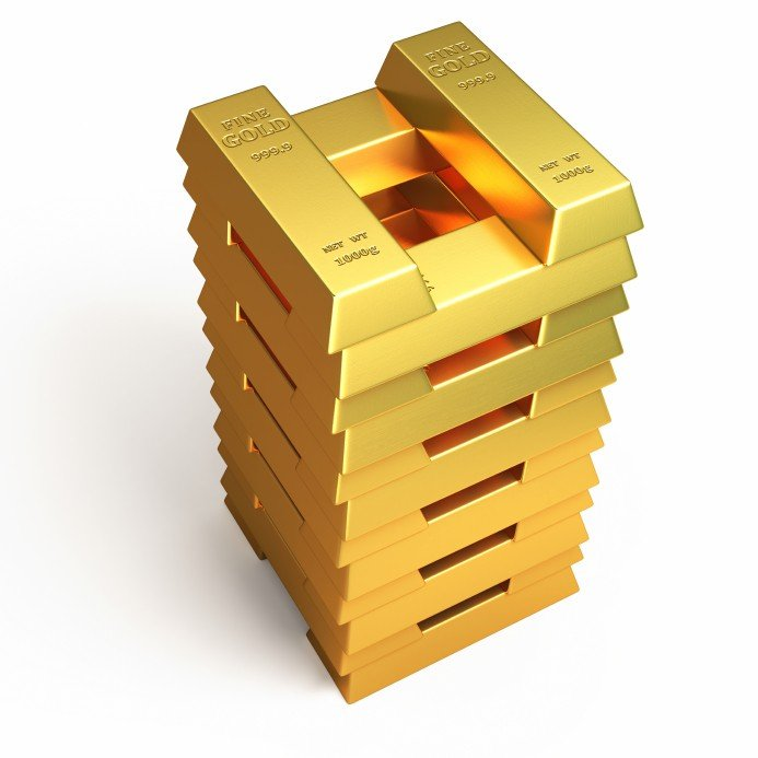 Digitally Enhanced photo of gold bars stacked