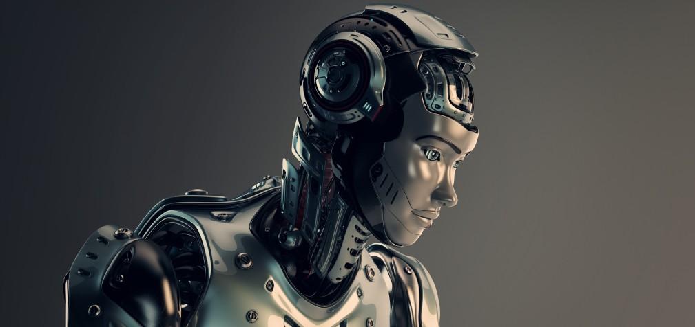 robot girl in helmet