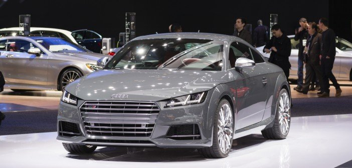 audi tt on display at auto show