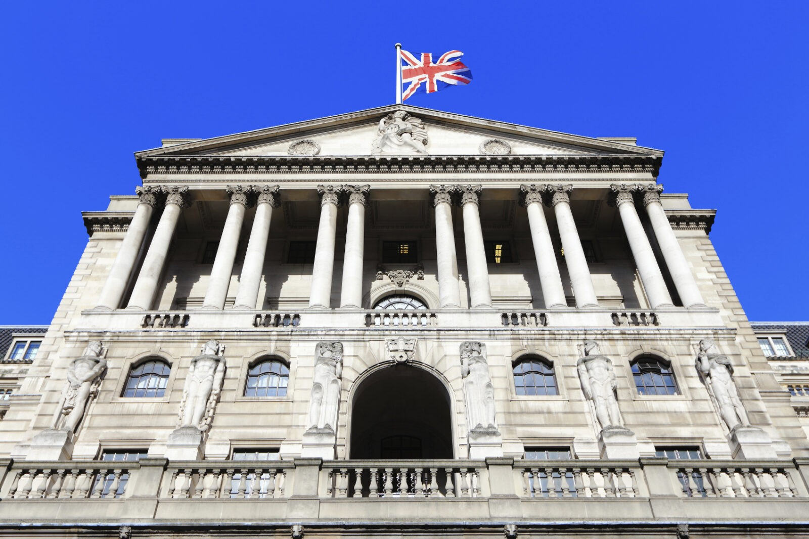bank of england with flag