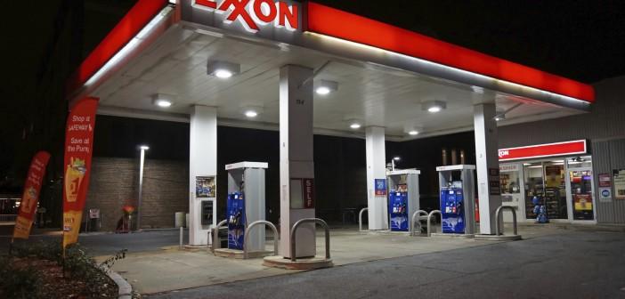 exxon station at night