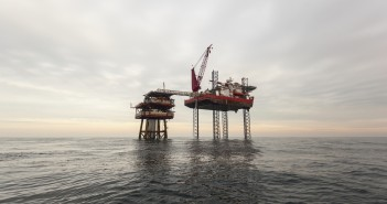 oil platform on cloudy day