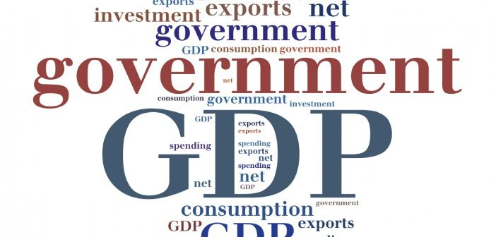 GDP or Gross domestic product components. Word cloud illustration.