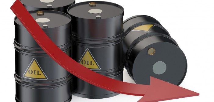 oil prices falling graph with barrels