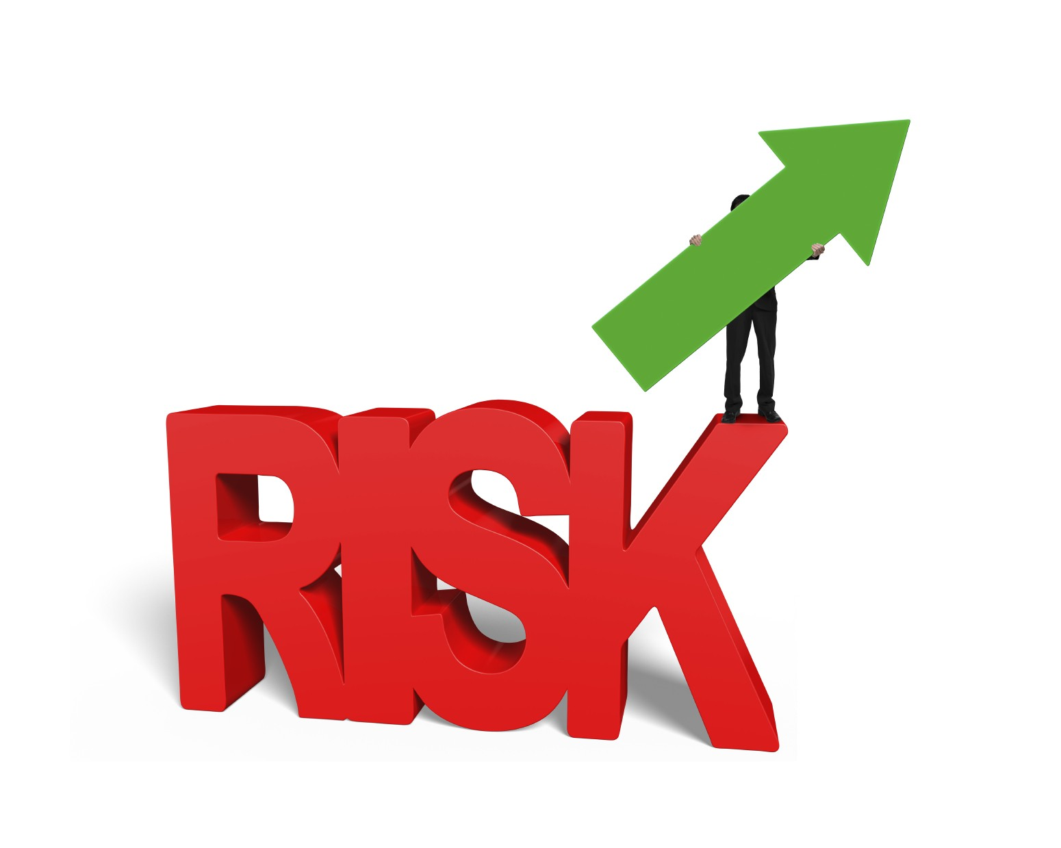 Man holding arrow up on red 3D risk word
