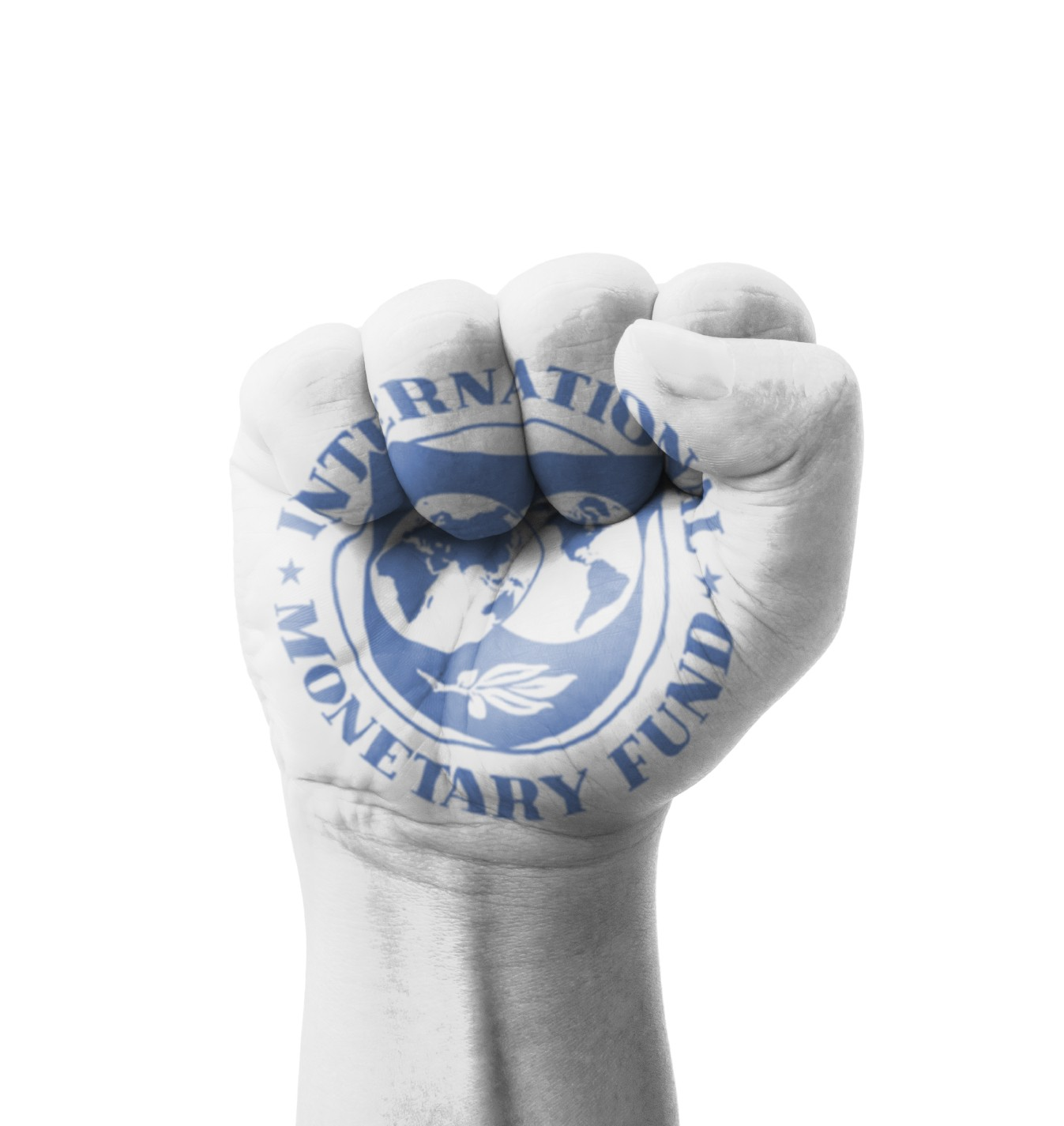 Fist of IMF (International Monetary Fund) flag painted, multi pu