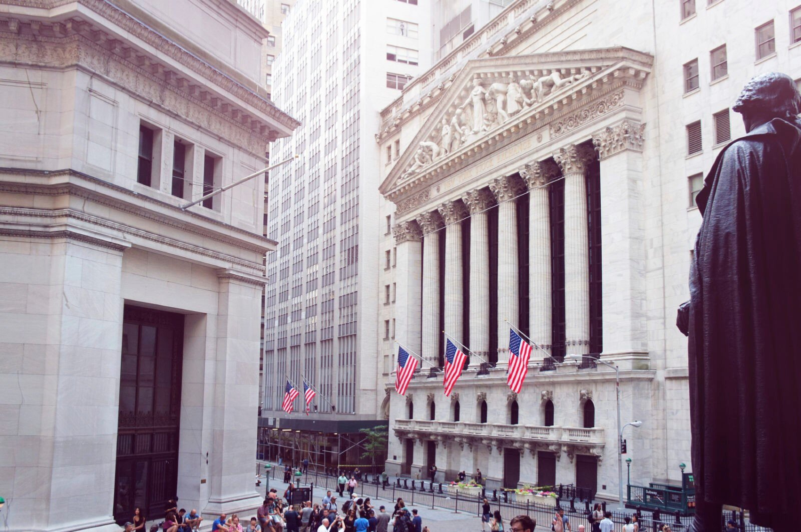 New York Stock Exchange, Wall street on summer morning.