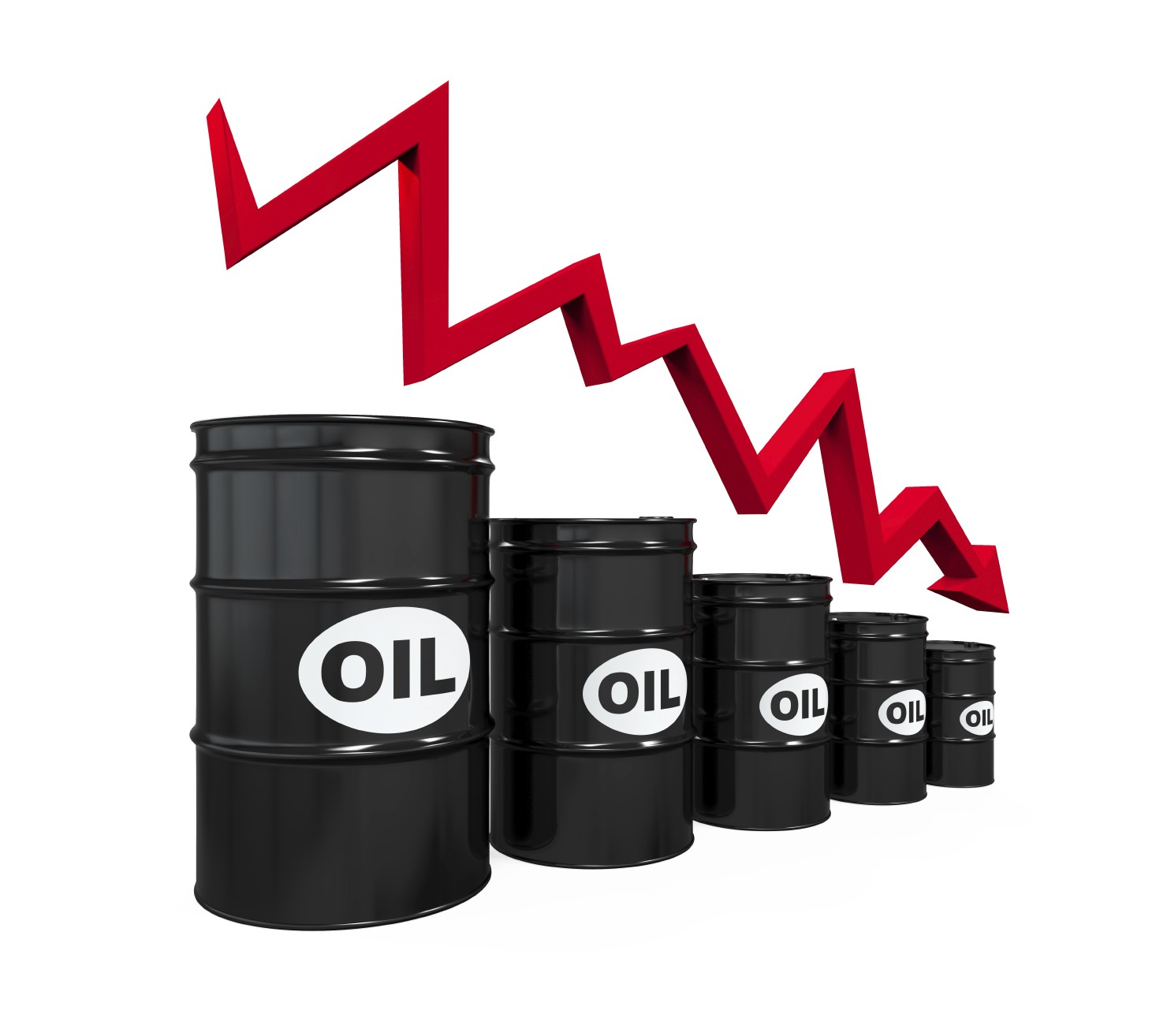 oil barrels with arrow