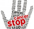 Stop Cancer word cloud in the shape of a palm,