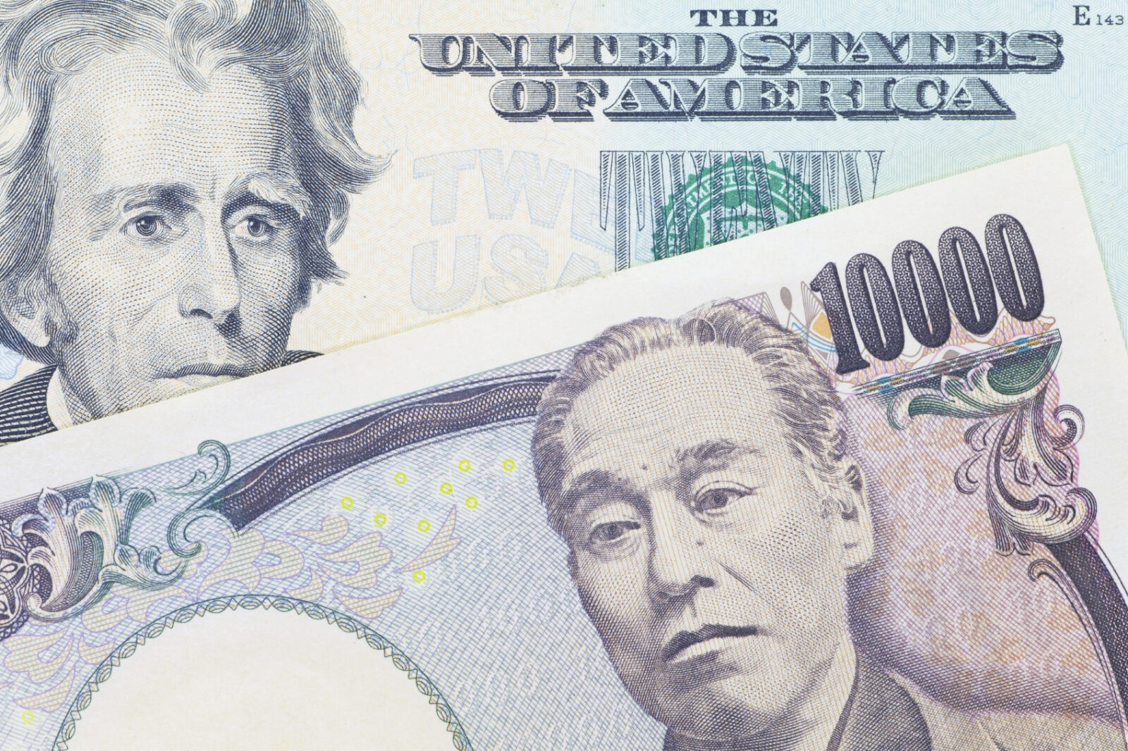 Japanese yen currency and dollar bank note use for currency concept