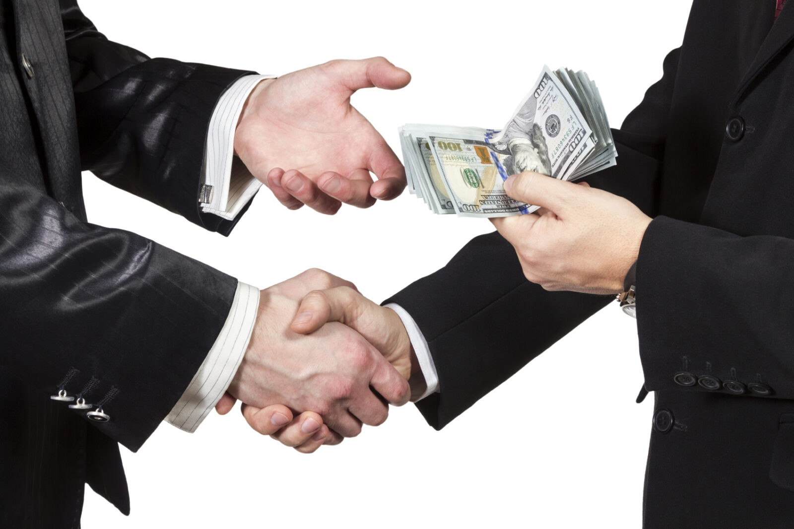 handshake with transfer of money