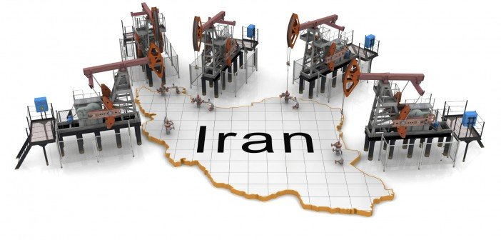 Oil pump-jacks on a map of Iran