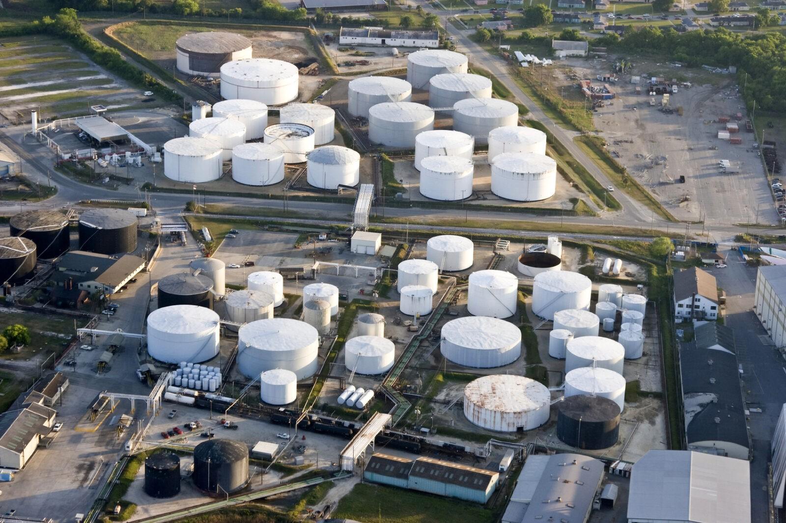 oil storage tank, aerial view