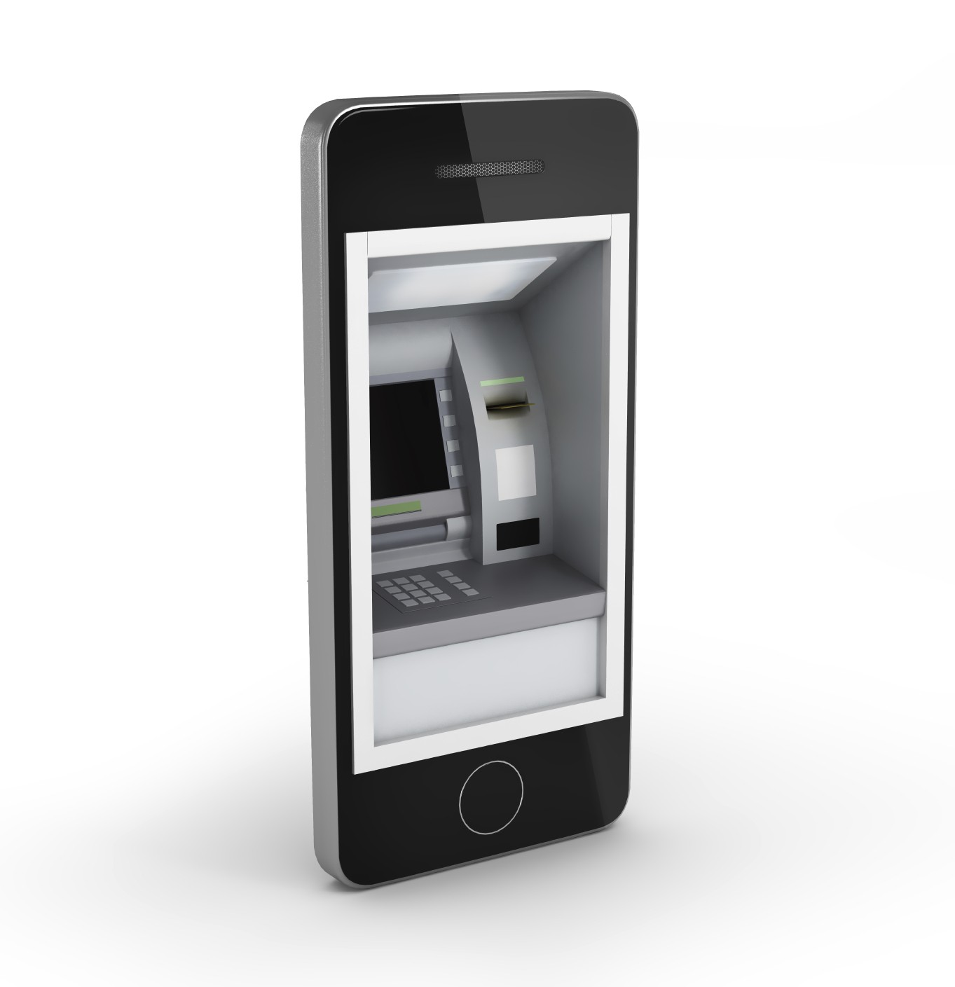 Online payments concept. Mobile Phone with ATM and Credit Card o
