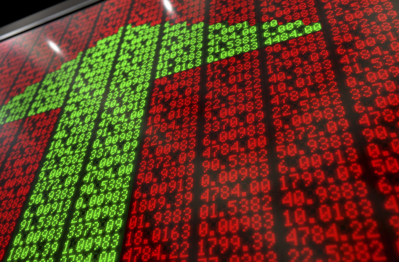 A flat section of a digital stock market indicator board with green numbers making up an upward facing arrow