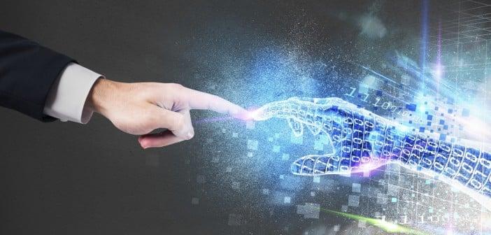 human interacting with virtual intelligence