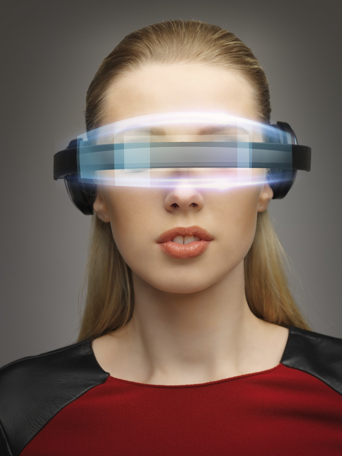 businesswoman with digital glasses