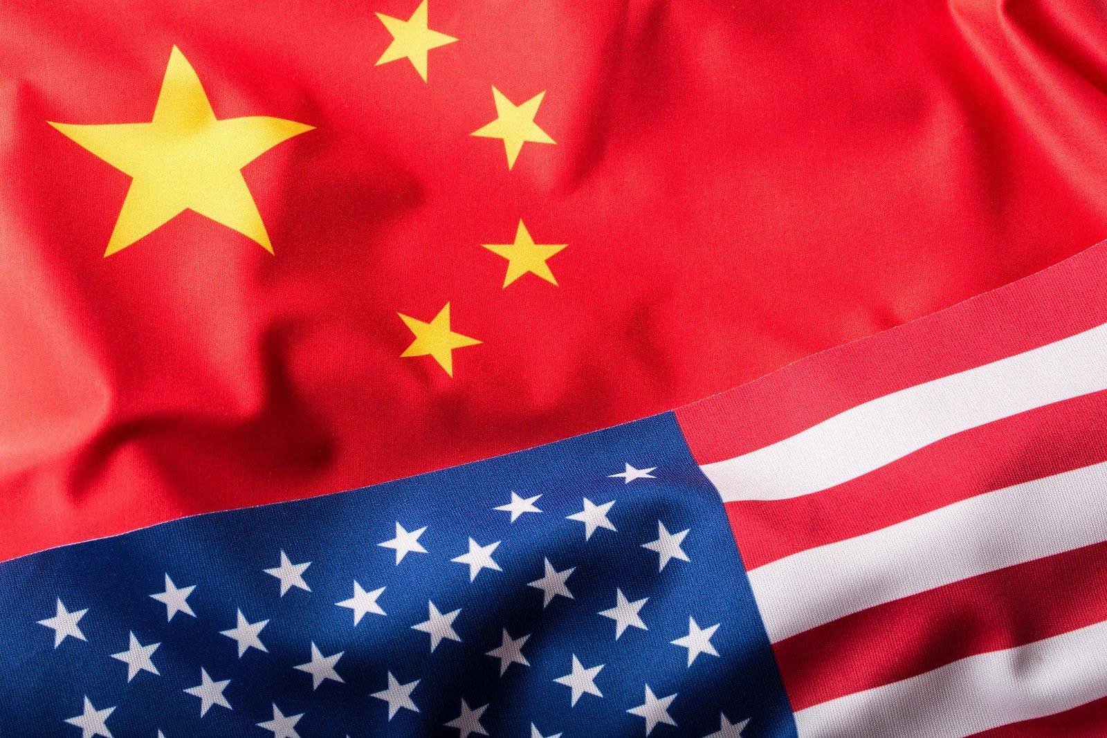 Usa flag and china flag.