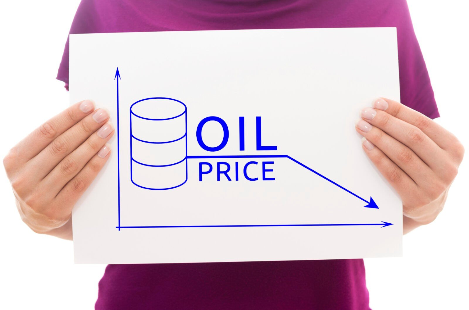 Girl holding white paper sheet with illustration of oil price