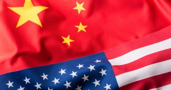 USA and China. Usa flag and china flag