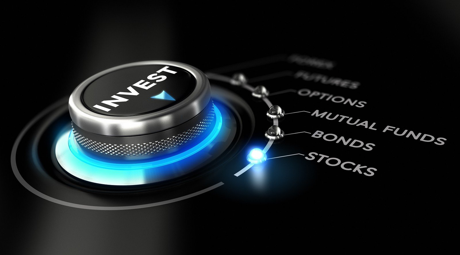 Switch button positioned on the word stock black background and blue light. Conceptual image for illustration of investment strategy
