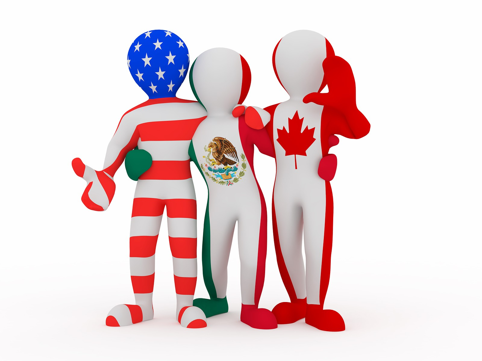 Nafta. People In Color Of National Flag.