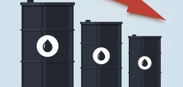 Oil barrel price falls down chart.
