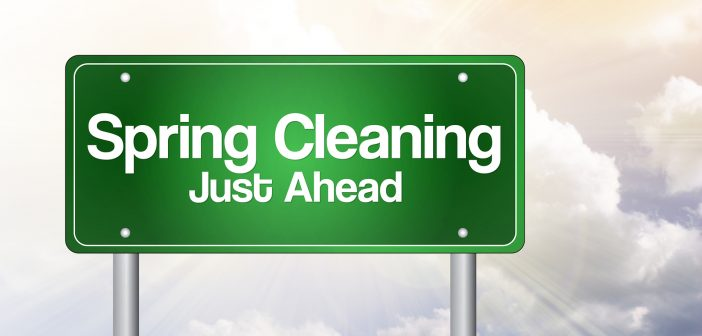 Spring Cleaning Just Ahead Green Road Sign, Business Concept..