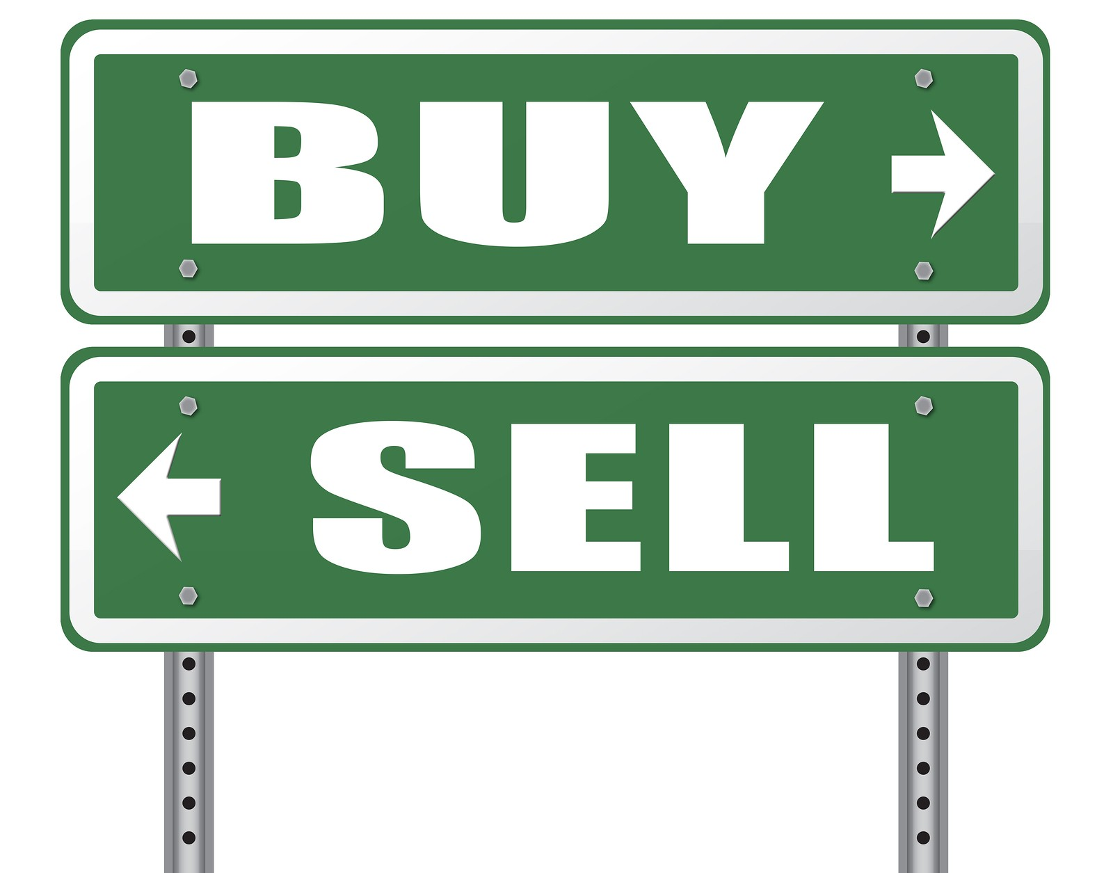 uy or sell market share buying or selling on stock market exchange international trade road sign text