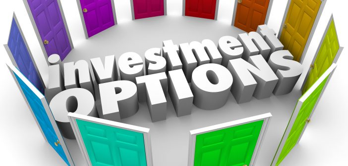 Investment Options 3d words surrounded by doors illustrating man