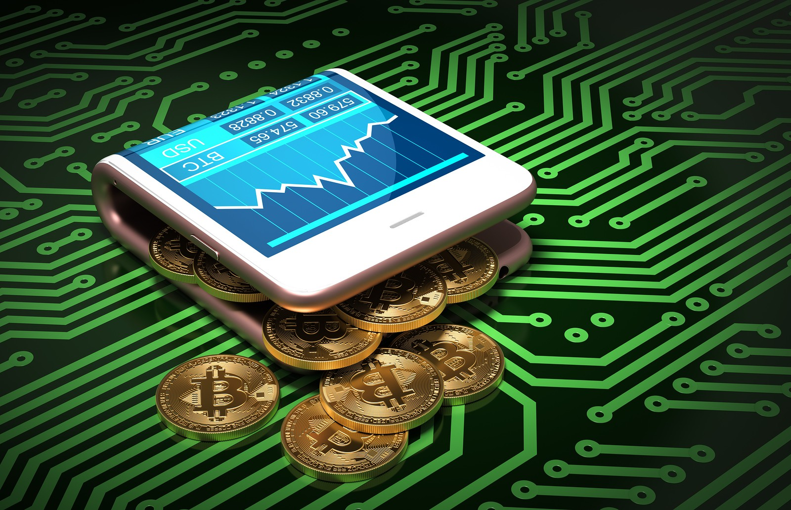 bitcoins in folded wallet smartphone