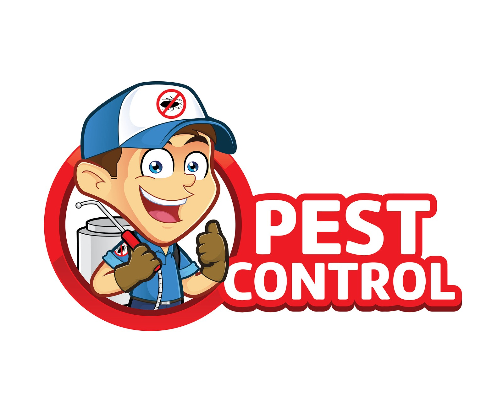Clipart picture of an exterminator or pest control cartoon character with logo
