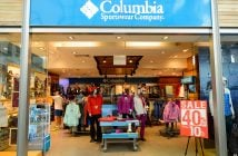 SINGAPORE - NOVEMBER 07, 2015: interior of Columbia Sportswear s